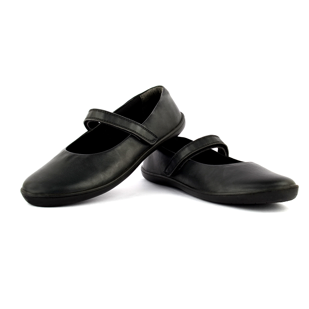 Girls Black Mary Jane Velcro Shoes Ether100