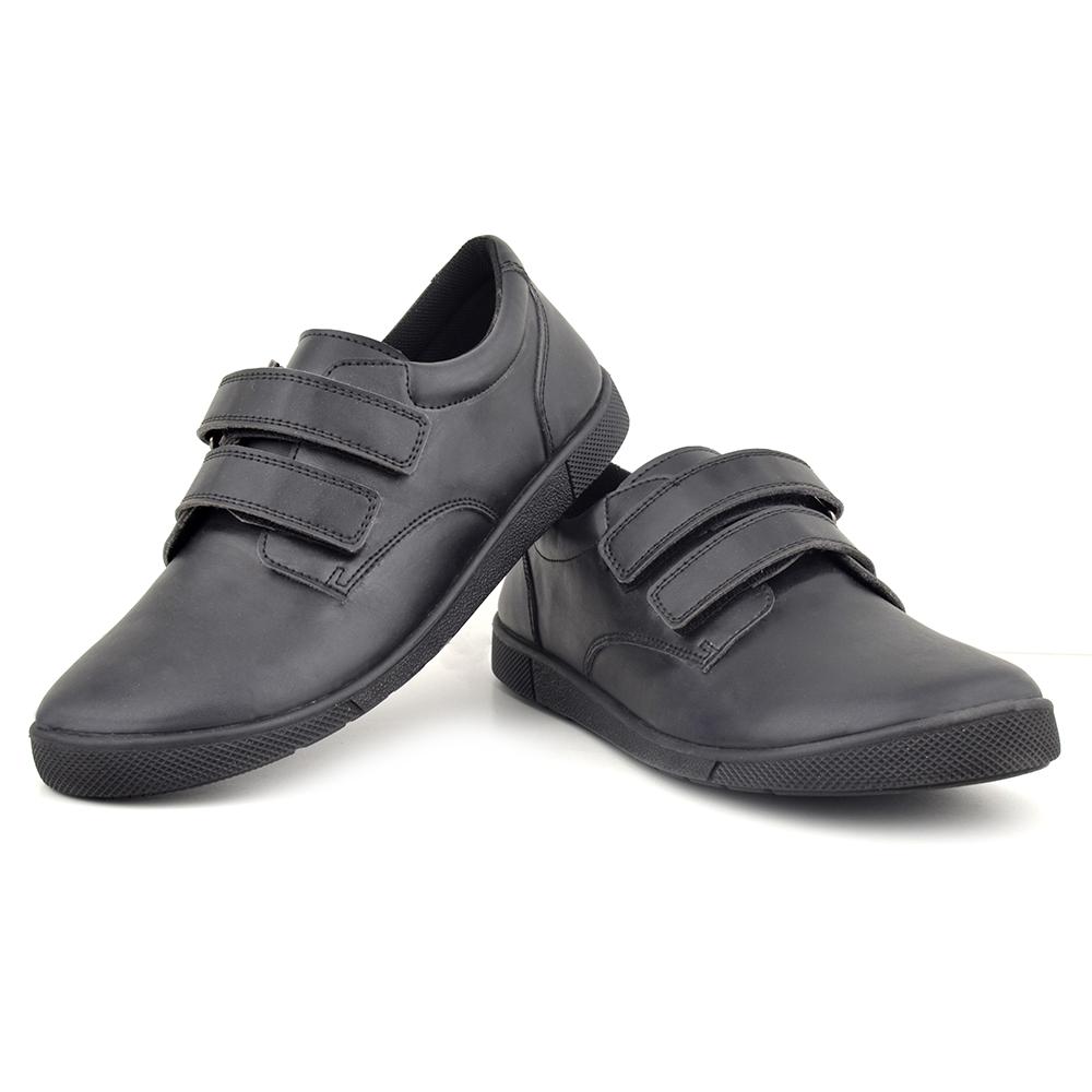 Boys Black Derby Velcro Shoes Gusto100